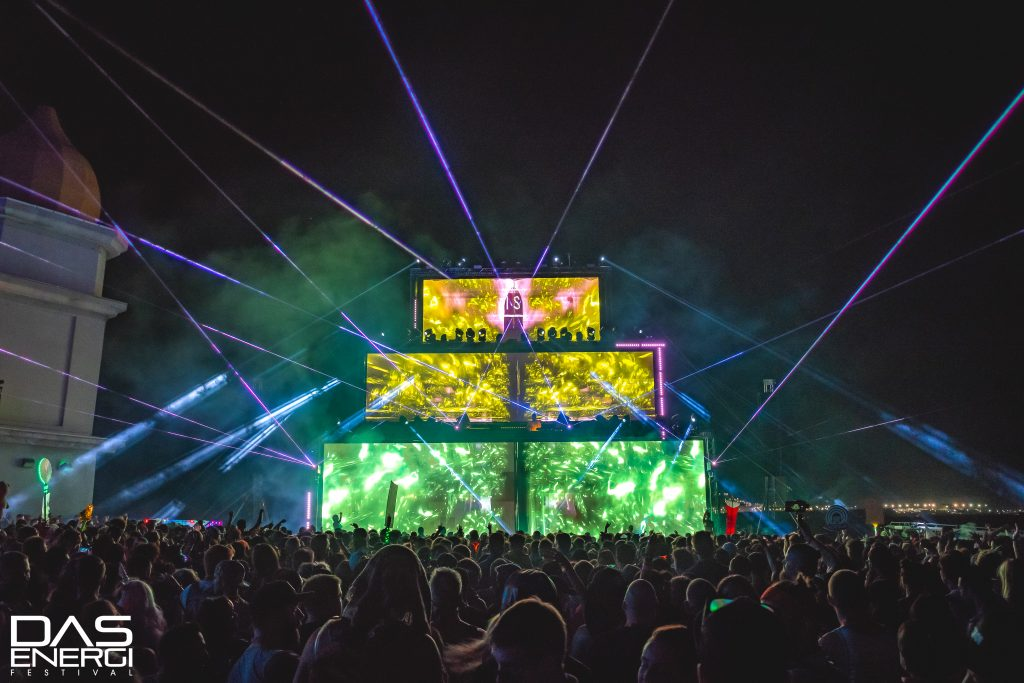 The Temple of Boom at Das Energi Festival with lasers.