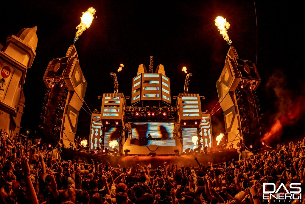 The Reactor Stage on The Energi Field at Das Energi Festival with fire turned on.